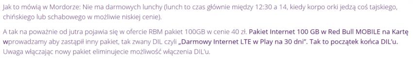Tabletowo.pl Najkorzystniejszy pakiet internetu w RedBull Mobile znika z oferty. Zastąpi go inny, ale już nie tak dobry GSM Nowości