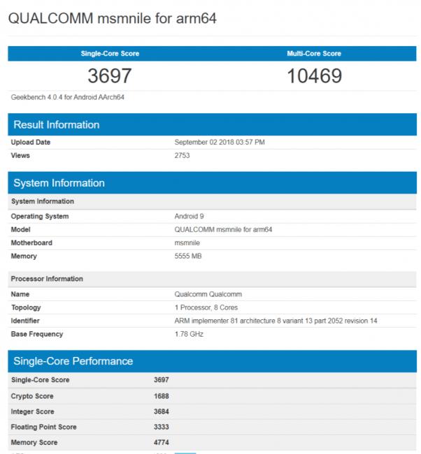 Tabletowo.pl Cyferki, cyferki. Procesor Snapdragon 855 dostrzeżony w benchmarkach Plotki / Przecieki Qualcomm