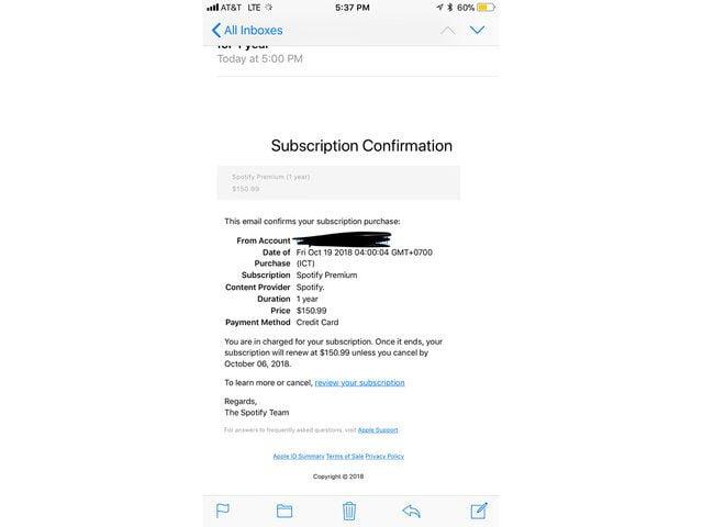 Tabletowo.pl Uwaga na naciągaczy - osoby posiadające Apple ID otrzymują mejle z fałszywym potwierdzeniem subskrypcji Spotify Premium Apple Bezpieczeństwo