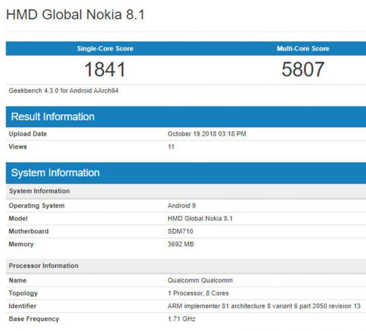 Tabletowo.pl Nokia 8.1 wypatrzona w popularnym benchmarku Android Nokia Nowości Plotki / Przecieki Smartfony