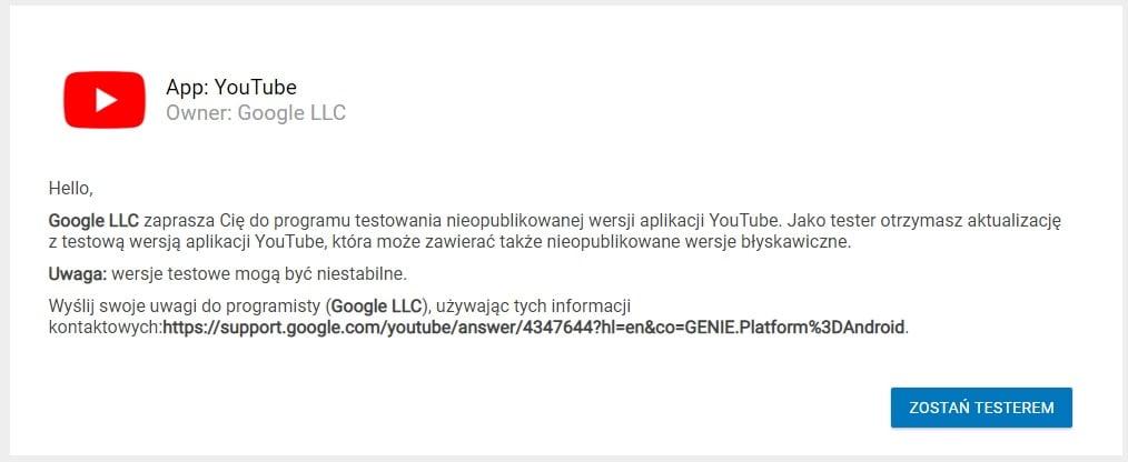 Tabletowo.pl Możesz przetestować nowe funkcje w YouTube zanim trafią one do wszystkich - wystarczy się zapisać Aplikacje Google