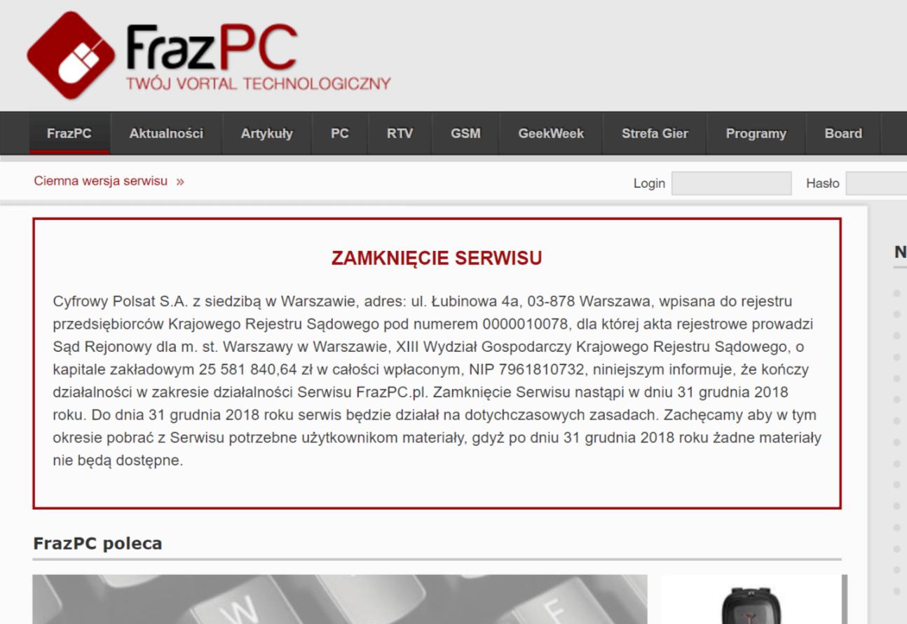 Tabletowo.pl FrazPC wraz z końcem roku zniknie z polskiego internetu. Mam z tym serwisem naprawdę dobre wspomnienia Kultura Technologie Wydarzenia