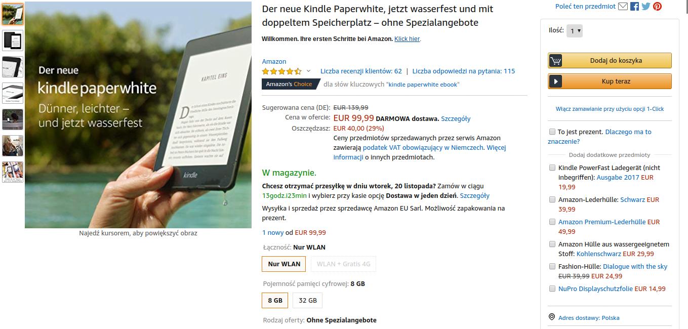 Tabletowo.pl Łowcy okazji - nie musicie czekać do Czarnego Piątku. Kindle Paperwhite już teraz dostępny w rewelacyjnej cenie Amazon Promocje Sprzęt