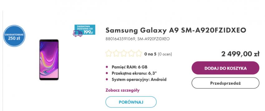 Tabletowo.pl 2499 złotych za Samsunga Galaxy A9 w Polsce. To jakby... po 500 zł za każdy aparat, jaki zamontowano w tym smartfonie Plotki / Przecieki Samsung Smartfony