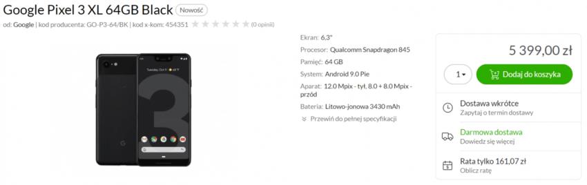Google Pixel 3 XL w Polsce, za prawie 5400 zł. Chyba ktoś upadł na głowę z taką ceną 19