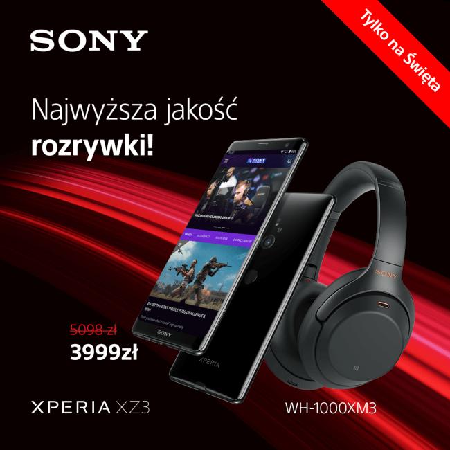 Tabletowo.pl Świąteczna promocja z Xperią XZ3 - ze słuchawkami Sony WH1000XM3 w zestawie Akcesoria Audio Promocje Smartfony Sony