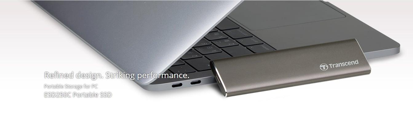 TRANSCEND ESD250C to wyjątkowo designerski przenośny dysk SSD do PeCeta z Windowsem i MacOS 24