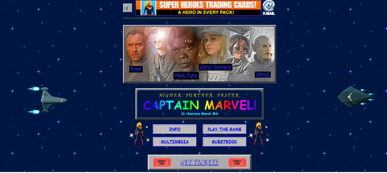 """Tabletowo.pl Świetny ruch marketingowy: strona """"Kapitan Marvel"""" jak z lat 90-tych Ciekawostki Kultura Wydarzenia"""
