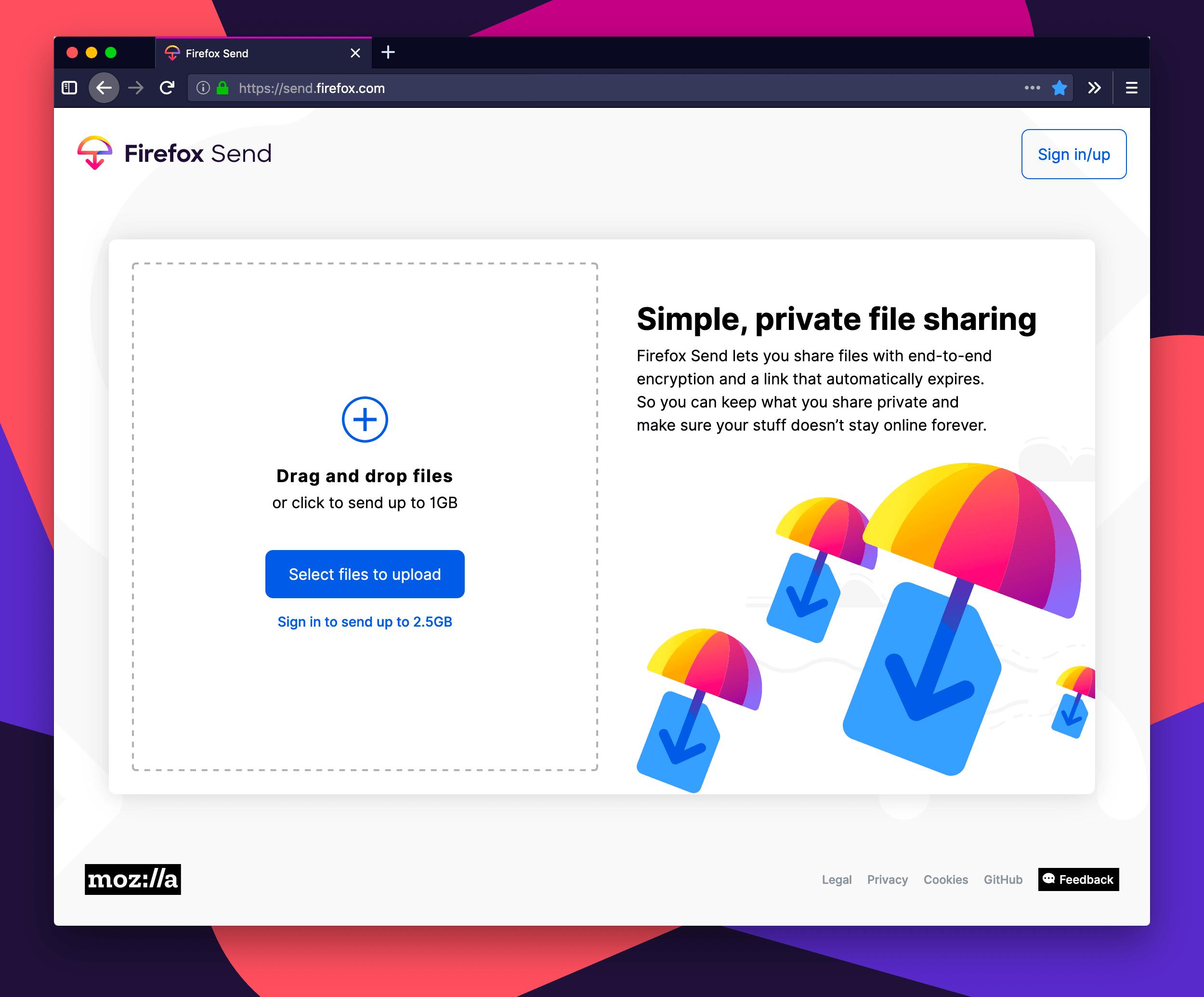 Bezpłatne przesyłanie plików uruchomione przez Mozillę - oto Firefox Send