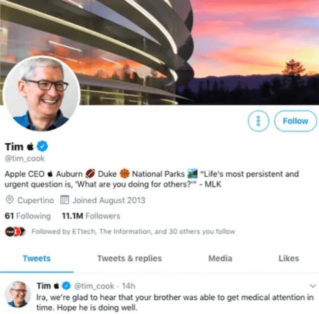 """Tim Cook zmienia swoją nazwę na Twitterze na """"Tim Apple"""" po tym, jak Donald Trump zapomniał jego nazwiska"""