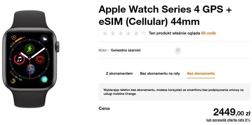 Apple Watch Series 4 LTE z eSIM trafił do oferty Orange. Jest odrobinę taniej niż w sklepie Apple