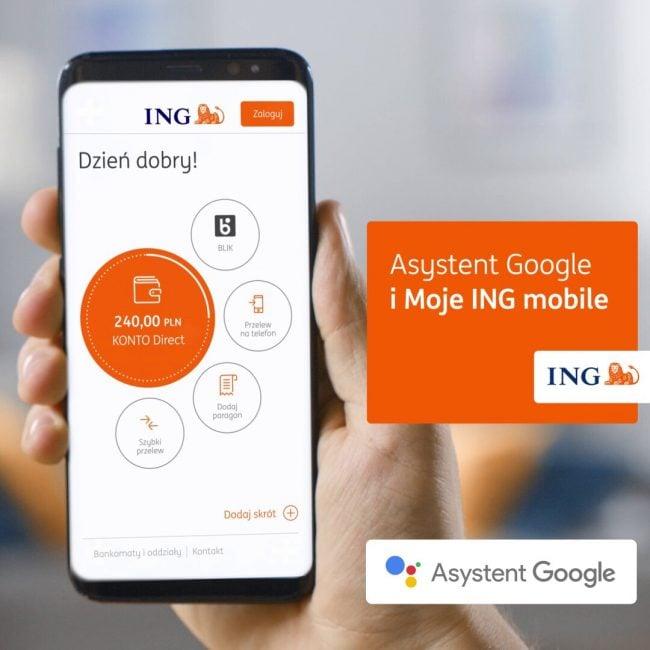 Asystent Google sprawdzisaldo konta. ING Bank Śląski wprowadził właśnie obsługę głosową