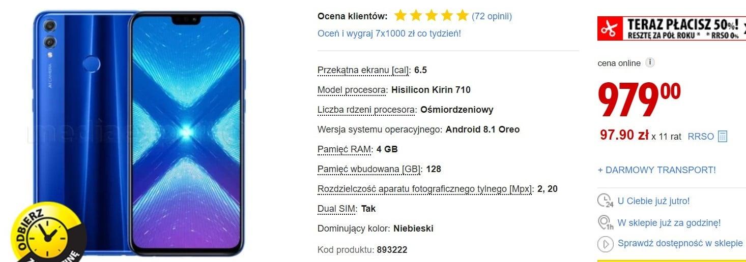Promocja na Honor 8X: średniopółkowy smartfon z dużym ekranem w dobrej cenie