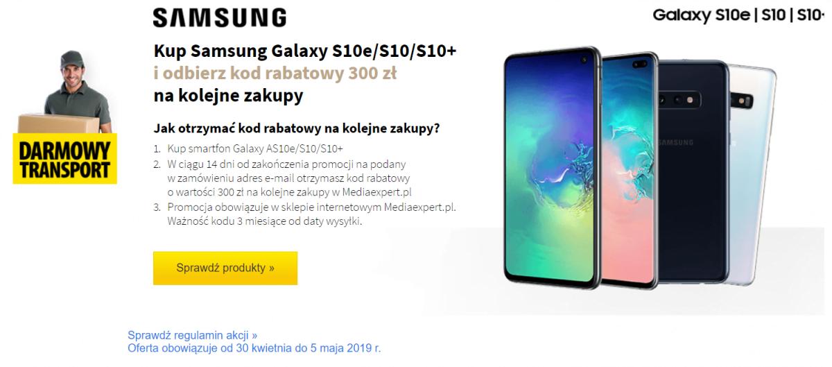 promocja na smartfony Samsunga z serii Galaxy S10 - kod rabatowy 300 złotych do wykorzystania w Media Expert