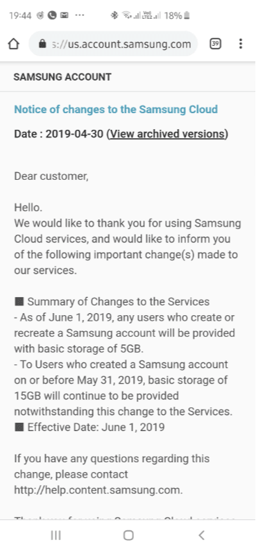 Samsung zmniejszy ilość darmowego miejsca w Samsung Cloud