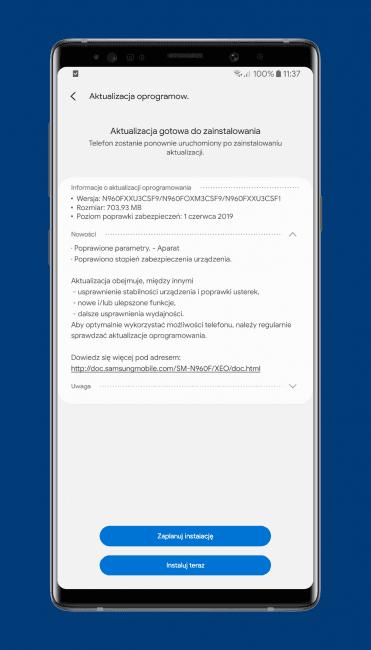 Samsung i Sony aktualizują smartfony: Galaxy Note 9 dostaje tryb nocny aparatu 19