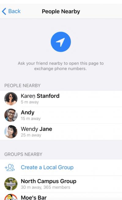 Telegram – funkcja People Nerby