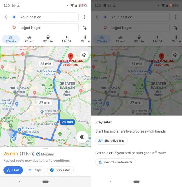 Mapy Google mają informować o próbie oszukania przez taksówkarza