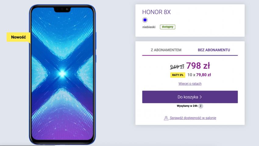 Promocja: Honor 8X w naprawdę dobrej cenie i bez abonamentu w Play