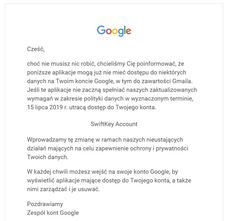 """Sugestie wyrazów w SwiftKey mogą ulec pogorszeniu. Zdaniem Google, aplikacja zbyt głęboko """"grzebie"""" w Gmailu"""