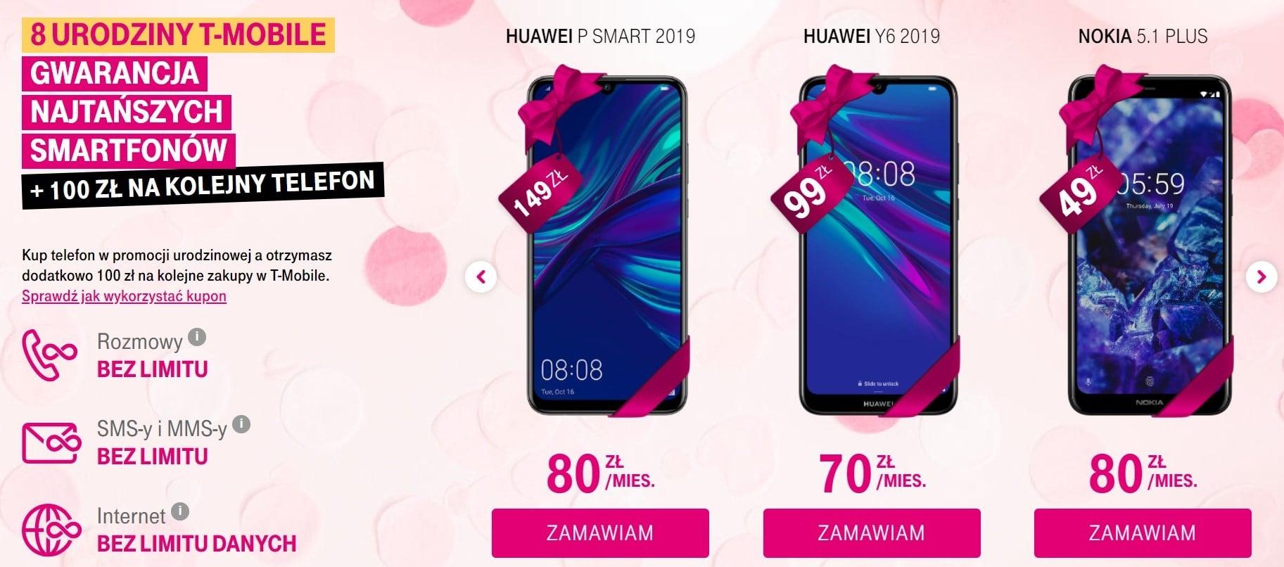 Promocja: 8 telefonów w abonamencie T-Mobile w promocyjnej cenie, z okazji 8 lat sieci w Polsce
