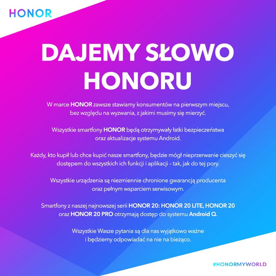 Honor jak Huawei obiecuje wsparcie dla swoich smartfonów i aktualizacje (m.in. do Androida Q) 19