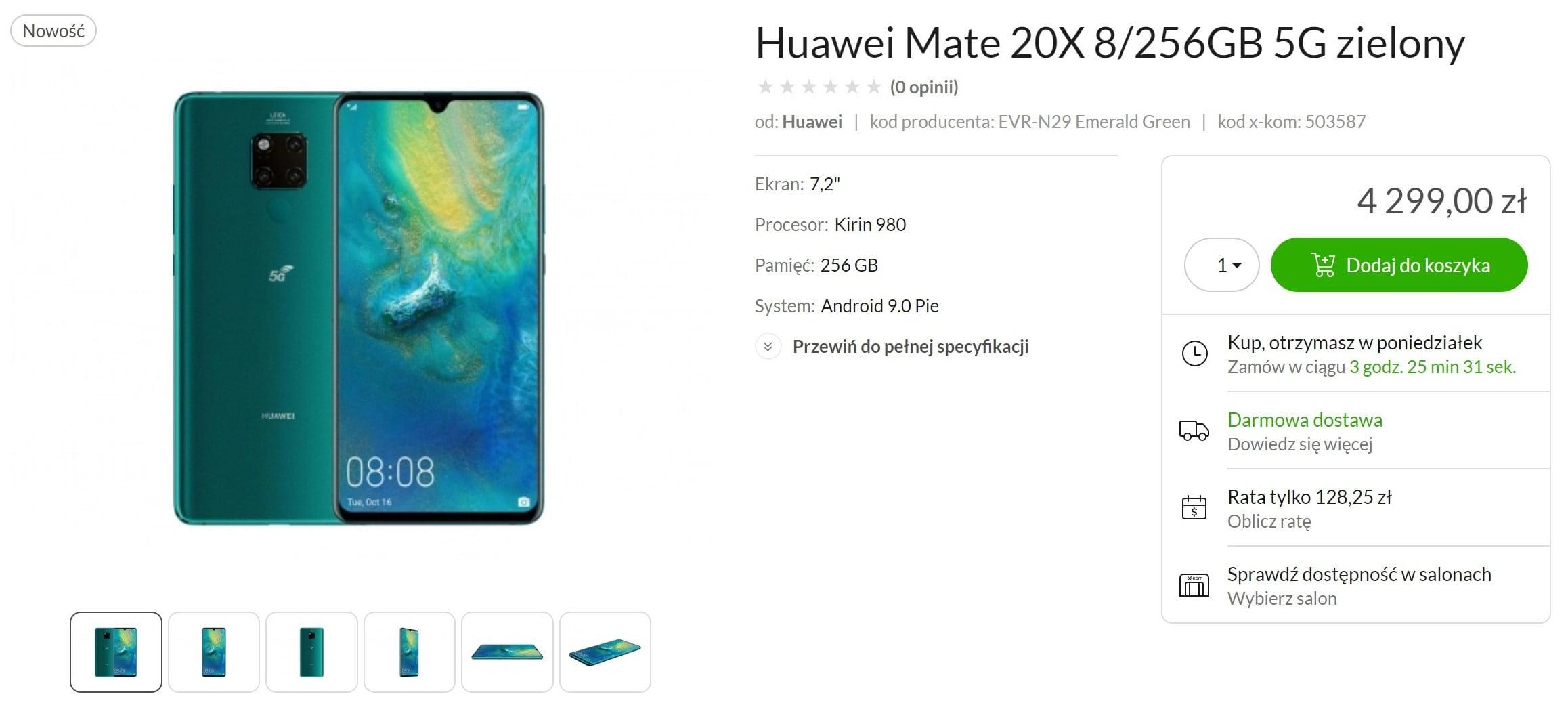 Pierwszy smartfon z 5G w Polsce już do kupienia - Huawei Mate 20 X 5G