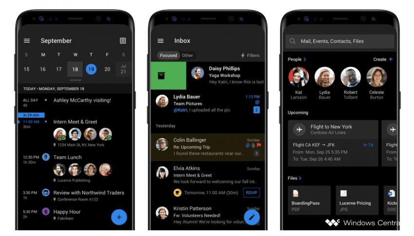 Mobilny Outlook z Dark Mode na nowych grafikach. Zmiany trafią na Androida i iOS-a