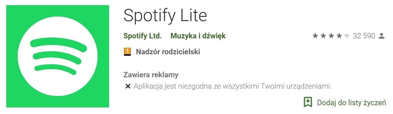 Spotify Lite na Androida zostaje uruchomiony w 36 krajach, ale nie w Polsce