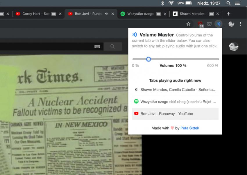 Volume Master dla Google Chrome: zarządzaj dźwiękiem w każdej karcie