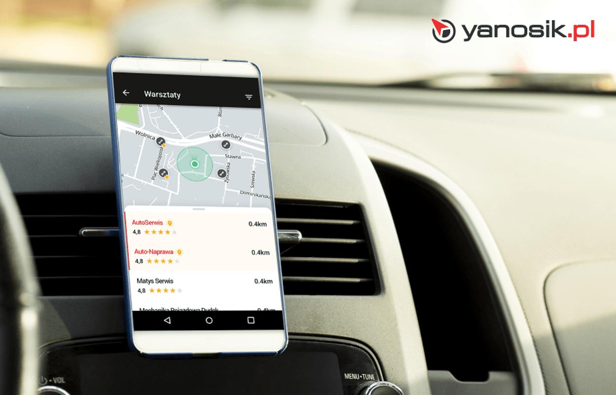 Aplikacja Yanosik z funkcją oceniania mechaników