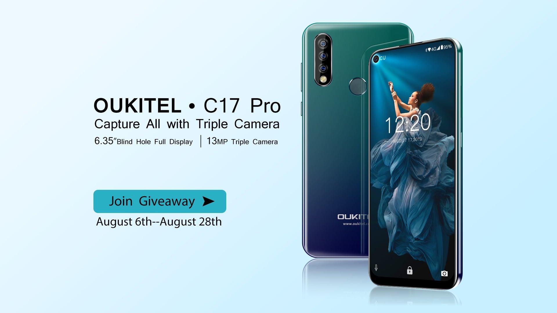 """Oukitel C17 Pro jest pierwszym """"chińczykiem"""" z otworem w rogu ekranu 16"""
