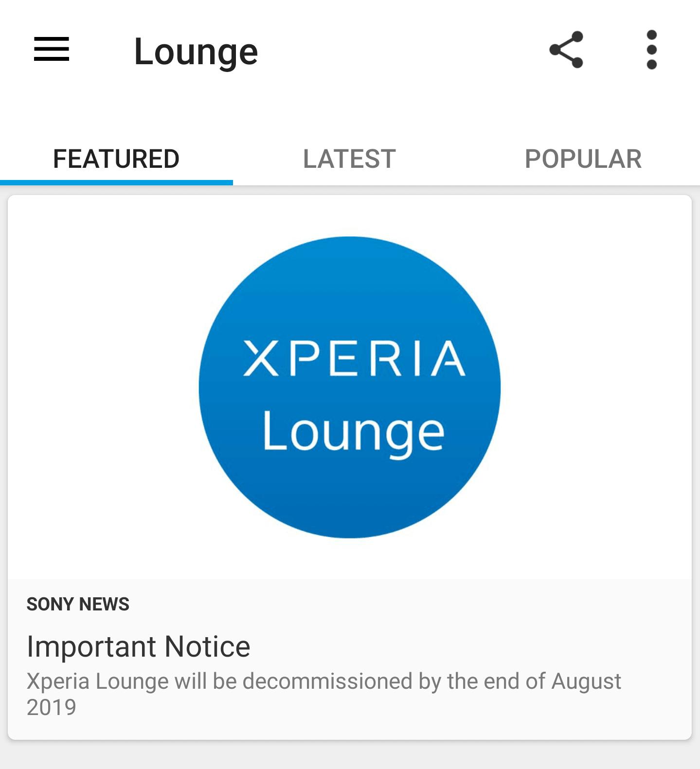 So Lounge, Xperia. Sony zamyka swoją aplikację z informacjami o promocjach