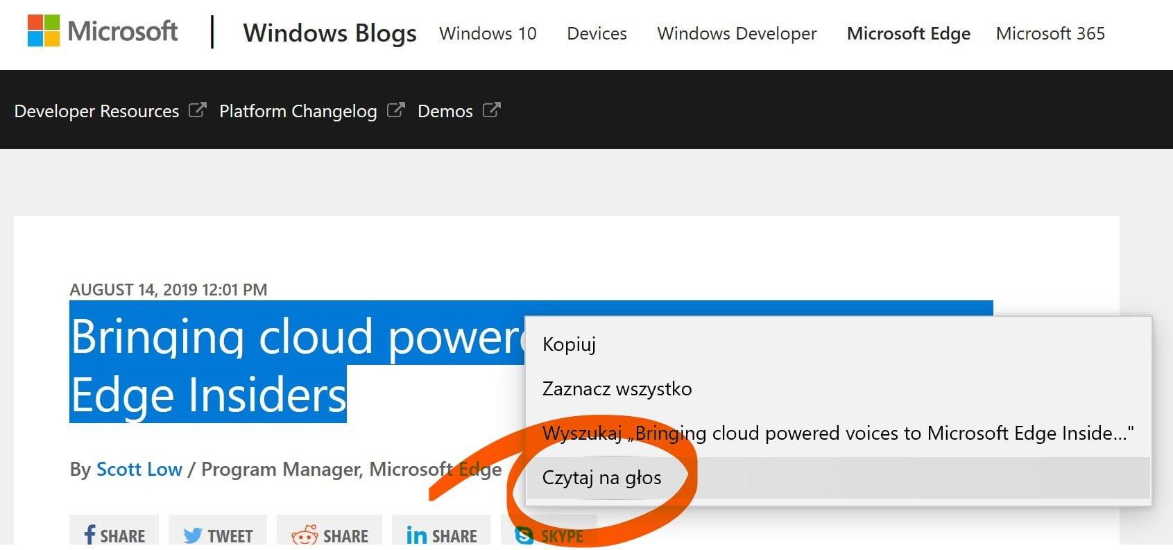Chmura Microsoftu sprawi, że lektor w przeglądarce Edge będzie brzmieć bardziej ludzko