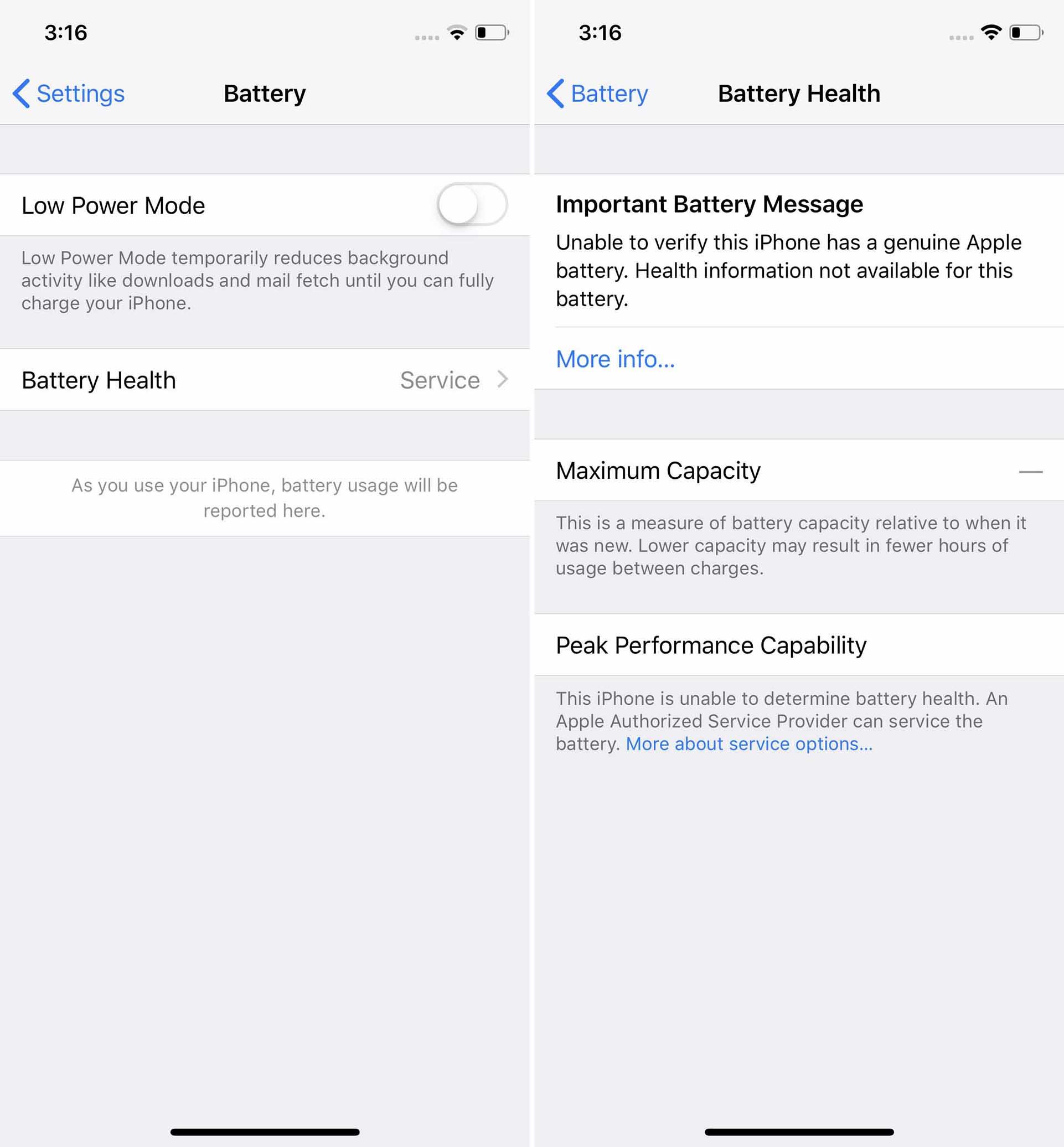 """Masz iPhone'a z nieoryginalnym akumulatorem? Możesz zobaczyć komunikat """"serwis"""""""