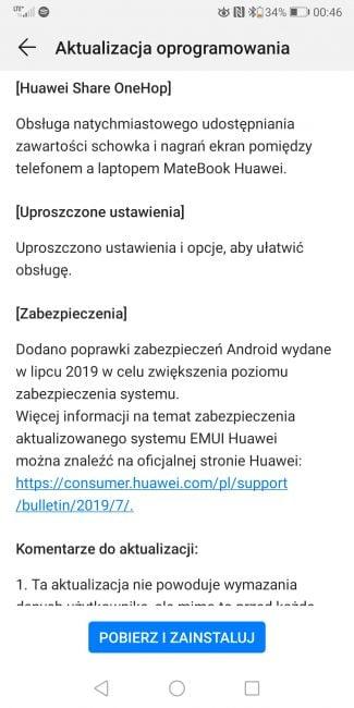 EMUI 9.1 już na Huawei Mate 10 Pro i P Smart 23