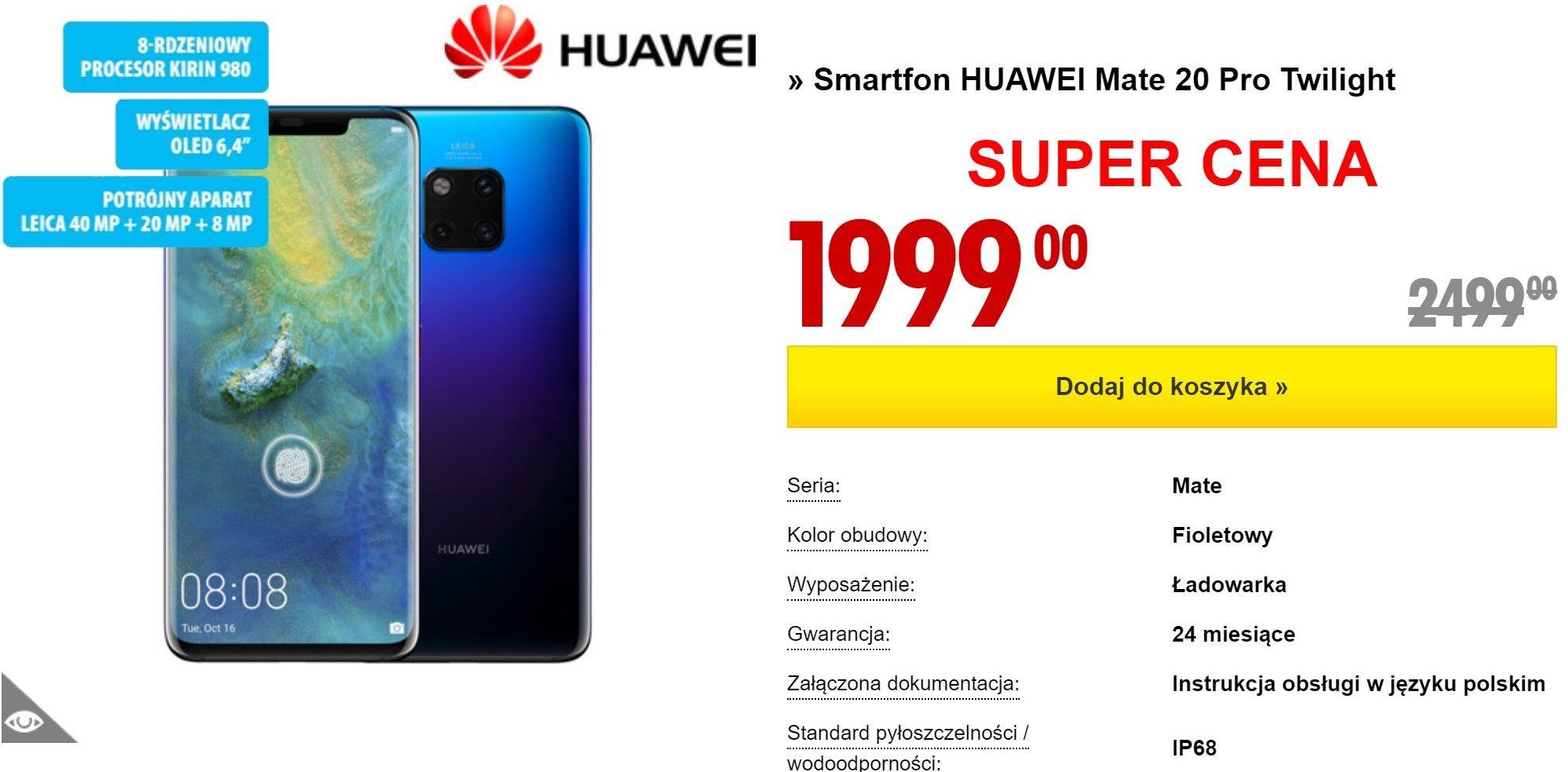 Oferta dnia: Huawei Mate 20 Pro aż o 500 zł taniej!