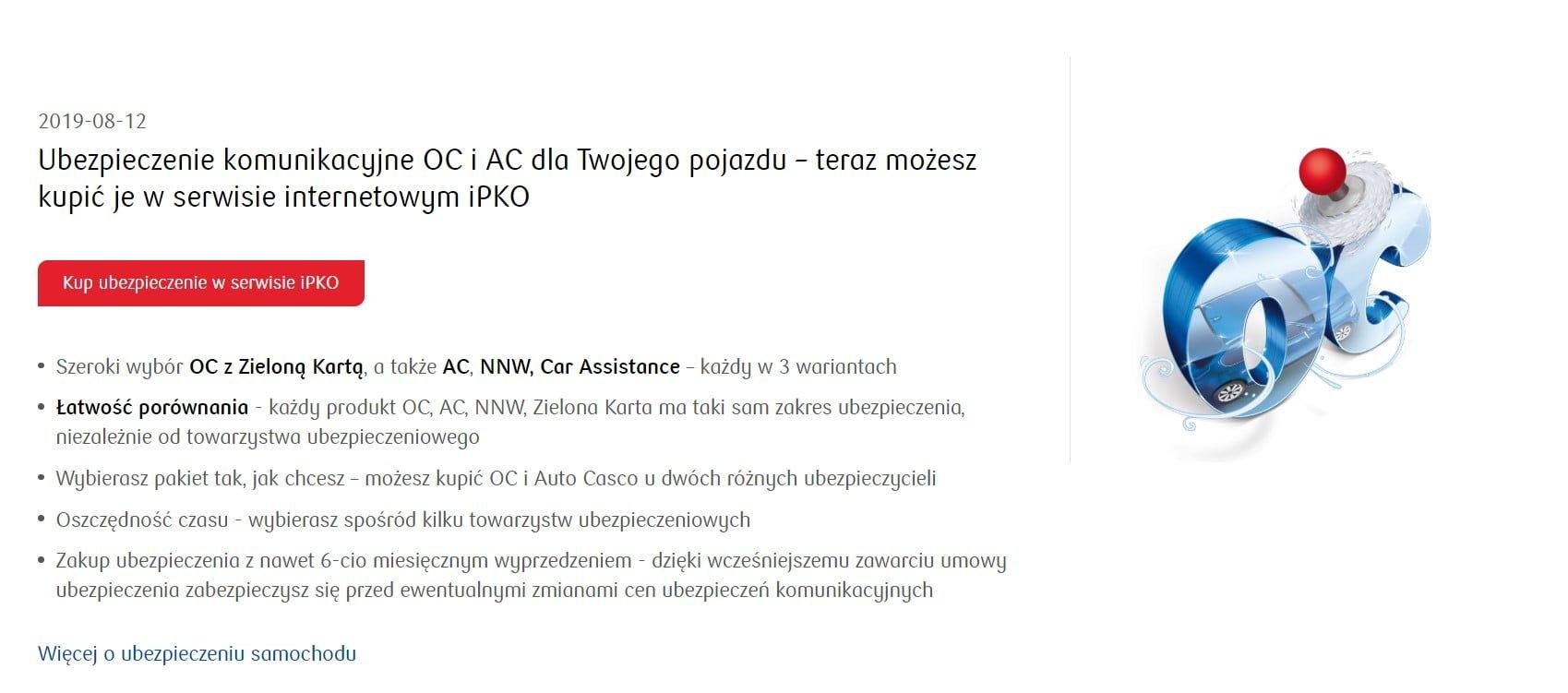 Ubezpieczenia komunikacyjne dostępne w bankowości elektronicznej PKO BP
