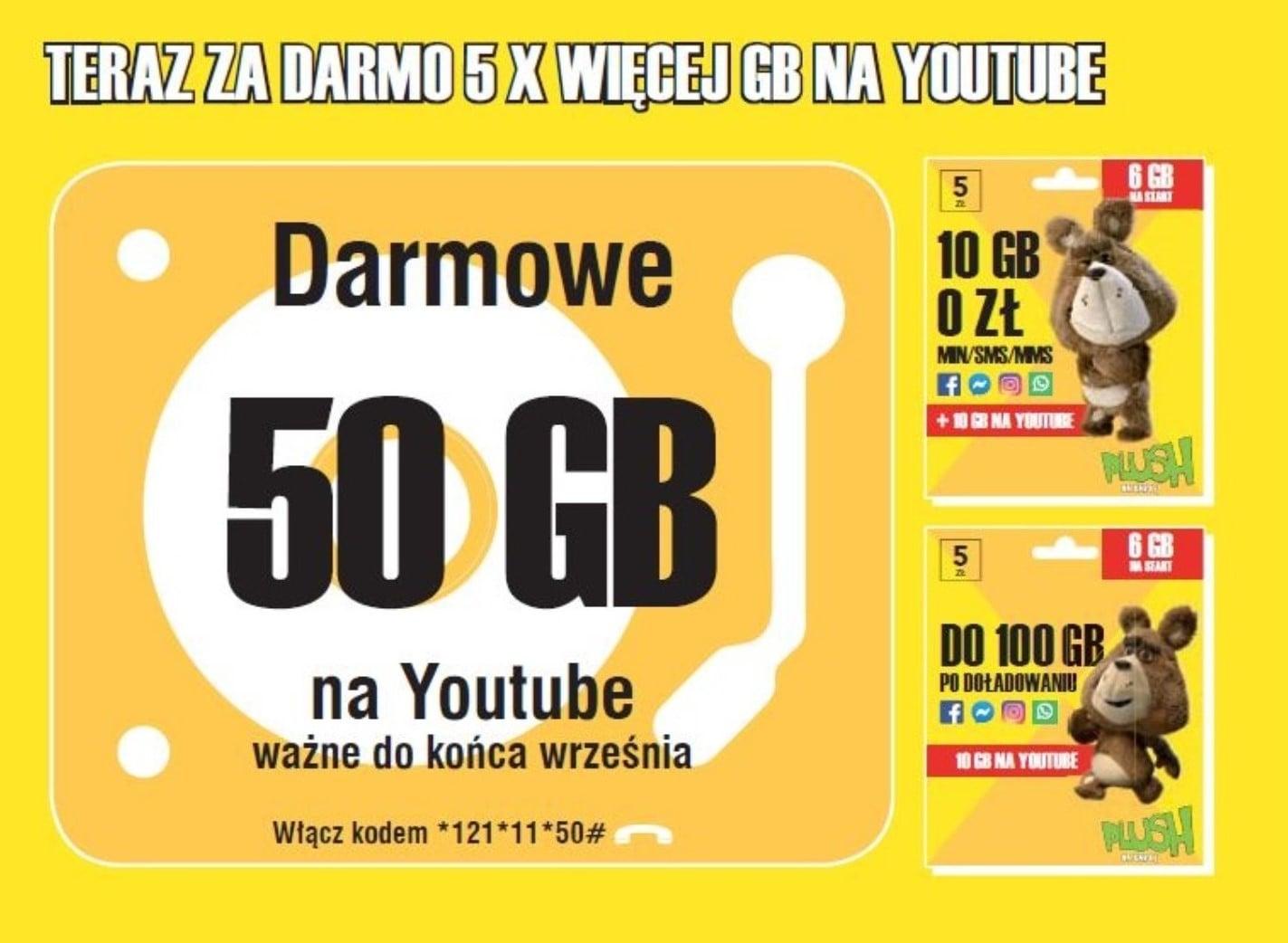 Jak dają, to brać! 50 GB na YouTube za darmo w Plush na Kartę 18