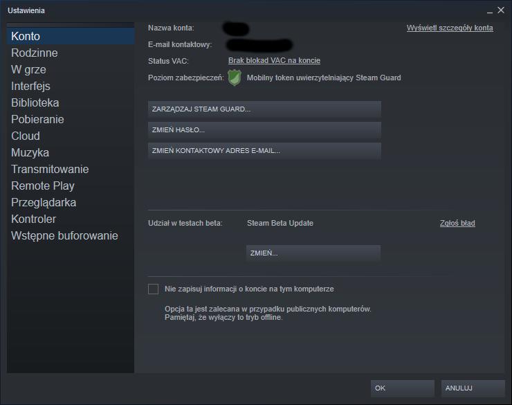 Ustawienia Steam