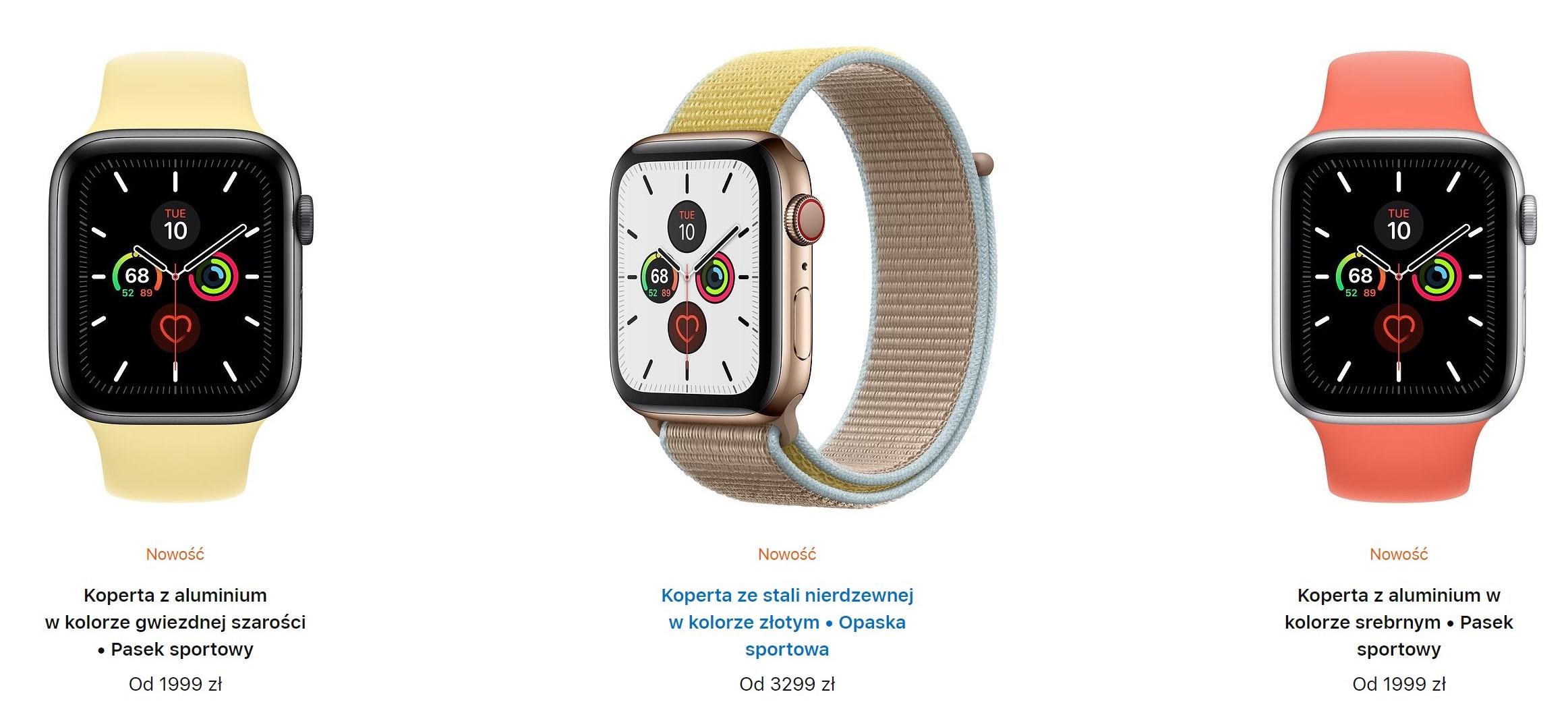 Ceny zegarka Apple Watch 5 w Polsce. Kopert ceramicznych i tytanowych nie ma w ofercie 21