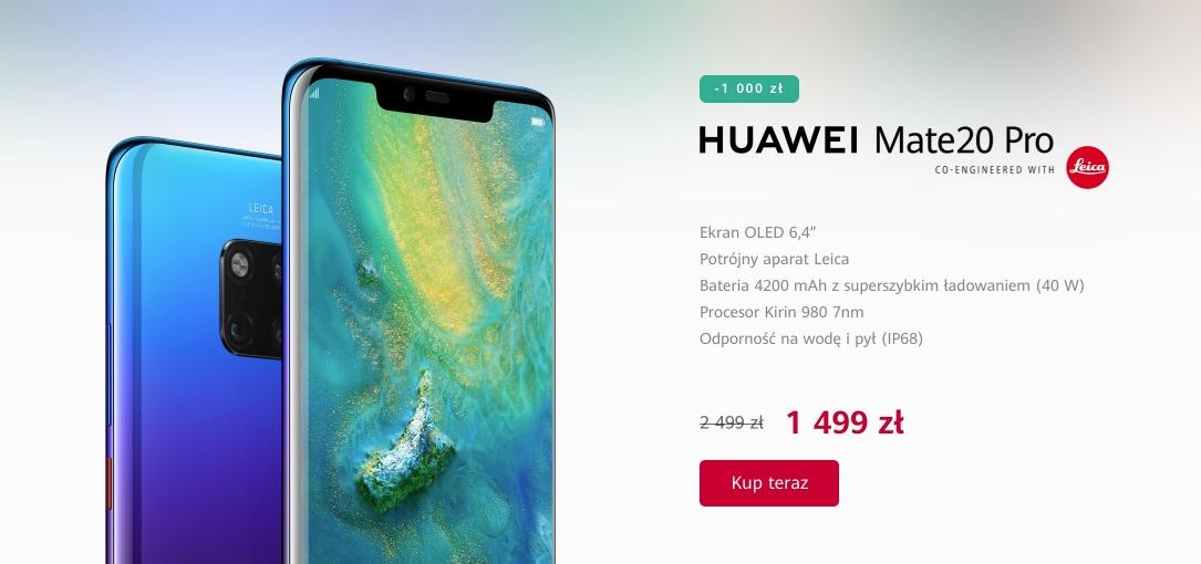 Wow, co za promocja! Huawei Mate 20 Pro za.... 1499 złotych! Mamy listę promocji na otwarcie sklepu huawei.pl