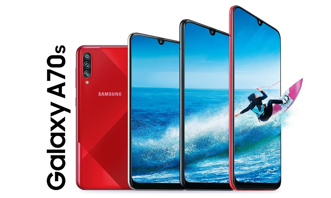 Czerwień obudowy Samsunga Galaxy A70s przypomina, że mamy jesień (premiera) 22