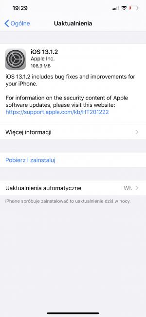 Apple udostępnia iOS 13.1.2, zawierające kolejne poprawki. Co trzy dni aktualizacja