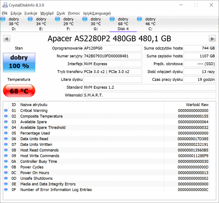 SSD Apacer AS2280P2 Pro - gdyby tylko nie ta cena 43 Apacer AS2280P2 Pro