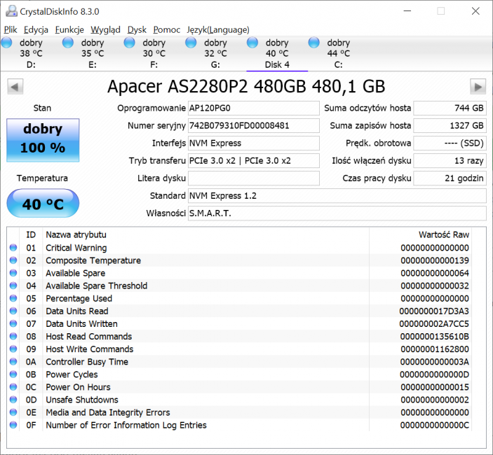 SSD Apacer AS2280P2 Pro - gdyby tylko nie ta cena 42 Apacer AS2280P2 Pro