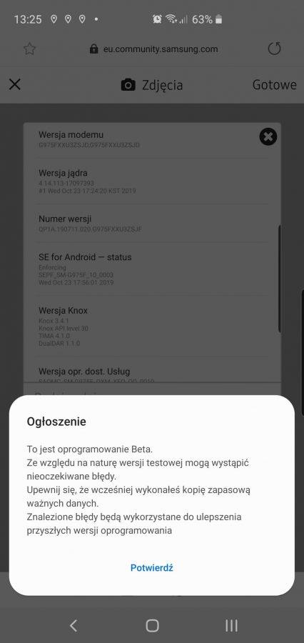 Ruszyły zapisy do Android 10 i One UI 2.0 beta dla Galaxy S10e/S10/S10+ 23