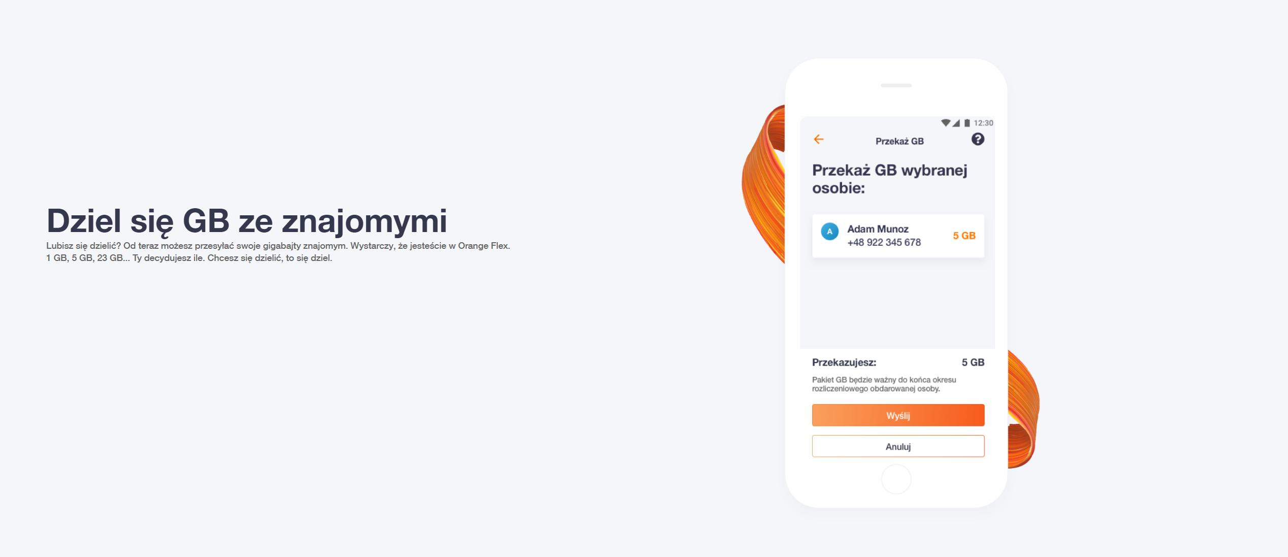 W Orange Flex fajna opcja - możesz wysłać komuś pakiet internetu!