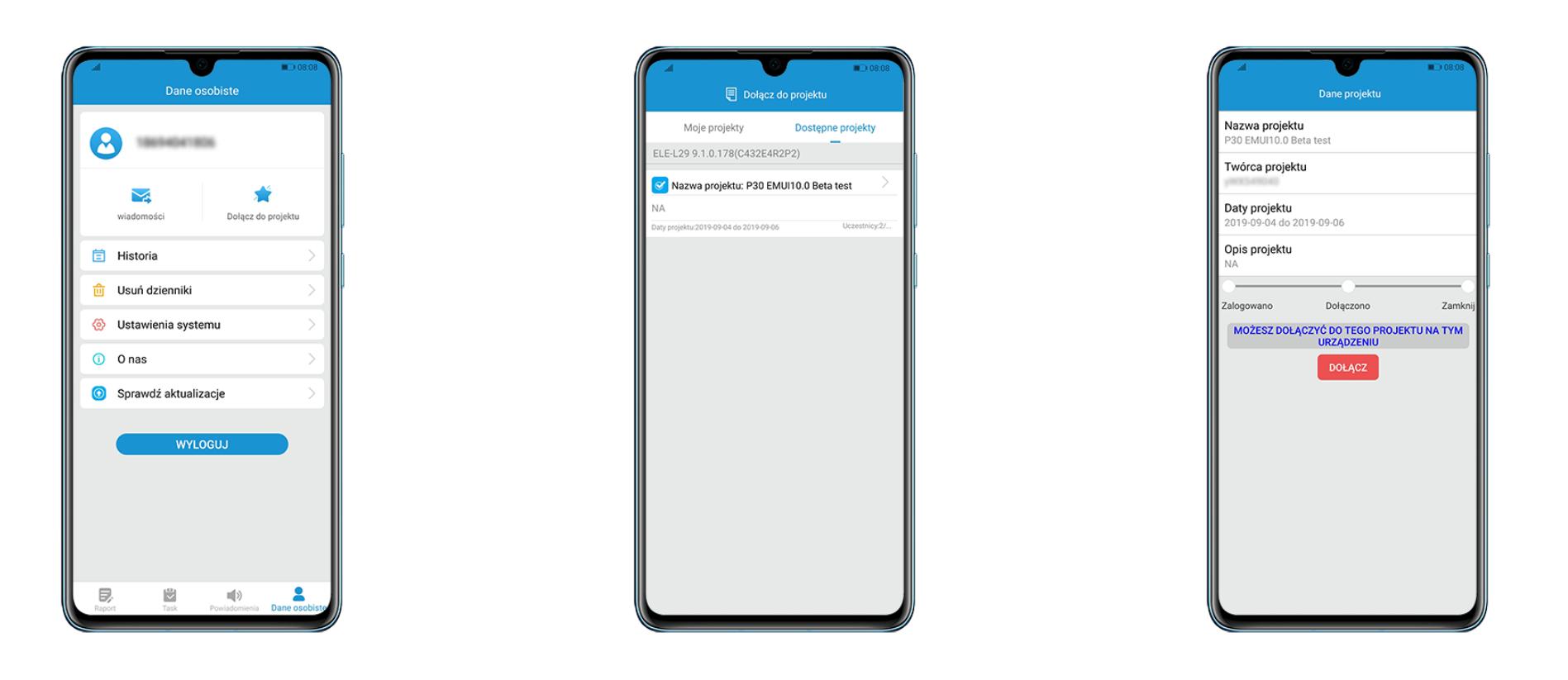 Aplikacja Beta dla smartfonów Huawei