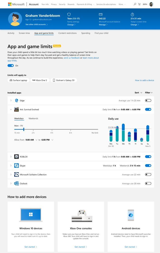 Microsoft: nowe opcje kontroli rodzicielskiej na Windows 10, Xbox One i Androidzie 22